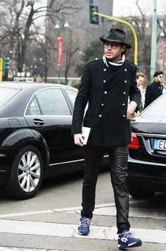 Justin Doss of GQ, wearing En Noir Leather Sweats and @Ronnie Fieg Selvedge Asics Gel Lyte III
