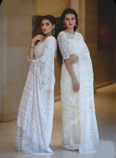 All About Chikankari dresses different Ways To Style Your Outfits! White Saree Wedding, Christian Wedding Sarees, Christian Bride, Dress Indian Style, Indian Dresses, Indian Saris, Indian Clothes, Bridesmaid Saree, Sari Dress