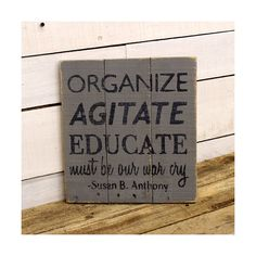Organize Agitate Educate War Cry Hand Painted Reclaimed Recycled... (€19) ❤ liked on Polyvore featuring home, home decor, wall art, grey, home & living, home décor, wall décor, wall hangings, rustic wall art and wooden word signs