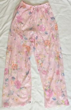 Victoria's Secret Pink Pajama Lounge Pants Medium Floral Sheer Poly #VictoriasSecret #LoungePantsSleepShorts