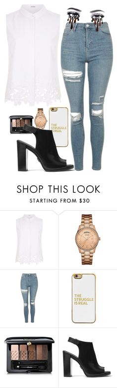 """""""Untitled #715"""" by cupcakes077 ❤ liked on Polyvore featuring Elie Tahari, GUESS, Topshop, BaubleBar, Guerlain and Michael Kors"""