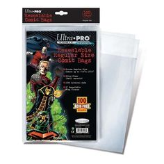 Ultra Pro Resealable Regular Size Comic Bags by Ultra Pro. $6.99. COMBAGRRU Features: -Stores regular comic size.-No PVC, acid - free.-100 pct archival safe.-Sold in packs of 100.-Material: 2mil Ultra Clear Polypropylene. Dimensions: -Depth: 1''. Collection: -Ultra Pro Board and Bag collection.