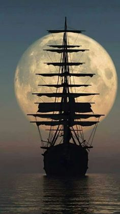 sail away .sail away.sail away Tall Ships, Moon Pictures, Moon Photos, Images Photos, Nature Pictures, Pirate Life, Beautiful Moon, Beautiful Scenery, Beautiful Images