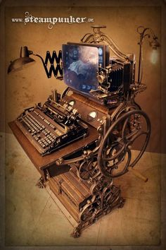 Steampunk Tendencies | fully functional steampunk workstation... with keyboard, mouse, screen, plasma bulbs, lamps, webcam, nixie clock and various other gadgets by Steampunk Steampunker Clockworker www.facebook.com/...