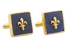 Fleur De Lys Lapis Cufflinks Heraldic Genuine Gemstone Gold Plated Sterling Silver 925