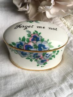 Vintage Forget Me Not Ring Box Staffordshire ~ MyVintageAlcove Forget Me Not, Robin, Box, Rings, Wedding, Etsy, Vintage, Valentines Day Weddings, Snare Drum