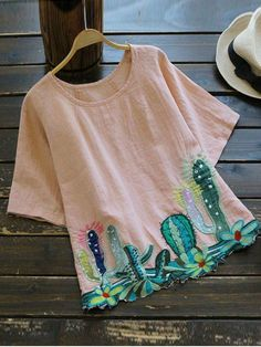 $14.49 Round Collar Cacti Embroidered Blouse - PINK ONE SIZE