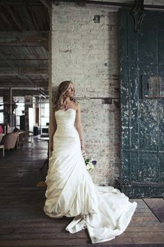 Pnina Tornai Strapless Ruched Trumpet Gown - Nearly Newlywed Wedding Dress Shop