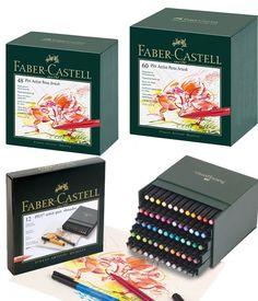 Faber-Castell Pitt Pen Brush Wallet Premium Artist Basic Colours 6pk