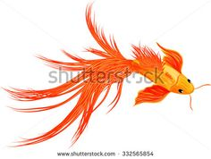 Cartoon illustration of goldfish koi fish isolated on white background - stock vector