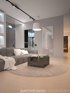 Minimal grey Scandinavian style sofa/ couch by Dmitriy Khanin