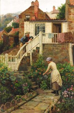Ralph Hedley ~ Watering the Garden ~ (English. 1851-1913)