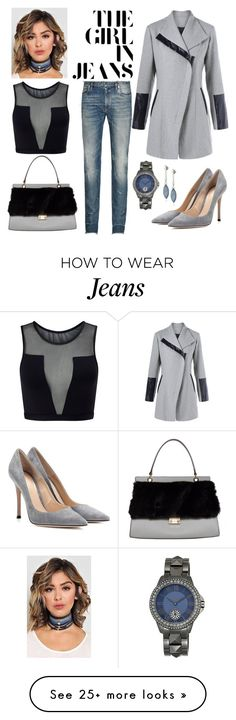 """""""Girl in Jeans"""" by boutiquebrowser on Polyvore featuring Maison Margiela, Gianvito Rossi, Clémence Flane, Varley, Kenneth Cole, Vince Camuto, denim, grey, women and chokers"""
