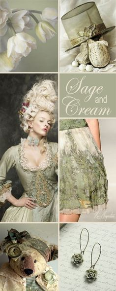 """Hi Ladies. Lovely Board today. Let's try this color combination tonight """" SAGE GREEN AND CREAM """" Thank you and Happy Pinning."""