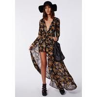 Missguided floral maxi playsuit