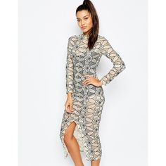 Missguided Lace Midi Body-Conscious Dress ($50) ❤ liked on Polyvore featuring dresses, cream, high neck lace dress, white body con dress, cream lace dress, lace cocktail dress and lace midi dress
