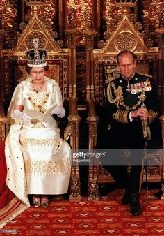 Royalty, October 1975, State Opening of Parliament, Her Majesty Queen Elizabeth II with Prince Philip, Duke of Edinburgh
