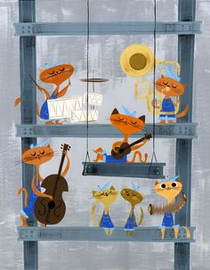 'Construction Cats' by: Amanda Visell -- http://www.amandavisell.com/painting_archive