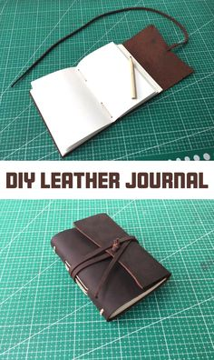 Make a simple leather journal with minimal tools! leather notebook handmade journals How to Make a Leather Journal Diy Leather Books, Leather Book Covers, Leather Bound Books, Diy Leather Bound Journal, Leather Book Binding, Diy Leather Notebook Cover, Diy Leather Gifts, Diy Leather Projects, Leather Crafts