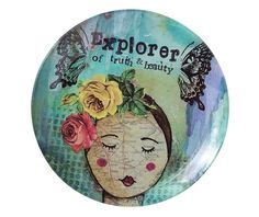 Demdaco The Kelly Rae Roberts Collection Explorer Glass Plate Kelly Rae Roberts, Painted Plates, Crafts For Kids, Decorative Plates, Invitations, Explore, Glass, Creative, Floral