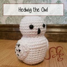 Hedwig the Owl Crochet Pattern  Once again I'm showing my geeky colors and presenting a Harry Potter-Inspired pattern this time.There's no need to hide it at this point! :)   I had made some little colorful owls for a craft show once and my husband says, you know, if you changed the colors it could be Hedwig. I laughed but then thought about it. That pattern was much more of a cartoon-y hoot owl though and I didn't like it as a Snowy Owl. So I designed this one. It most definitel...