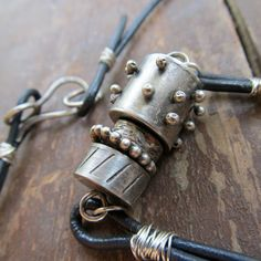 Badass Mens Necklace Silver Leather Rustic Sterling Biker by artdi, $235.00
