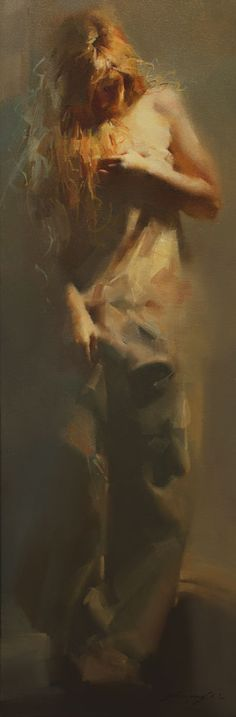 "SHOW WORK | Zhaoming Wu | ""Dusk"" 30 x 10"" framed oil"