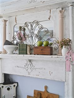 Chateau Chic: Seasonal Mantel in the Living Room Decor, Living Room, Shabby Chic, Room, Fall Mantel, Fall Vignettes, Shabby, Autumn Display, Fireplace Mantelpiece