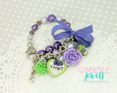 Girly ninja turtles inspired bracelet with TMNT by GambizzleJewels