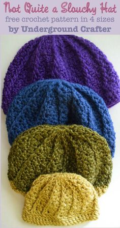 Not Quite a Slouchy Hat, free #crochet pattern in 4 sizes (infant through adult) by Marie Segares/Underground Crafter for #HolidayStashdownCAL2015