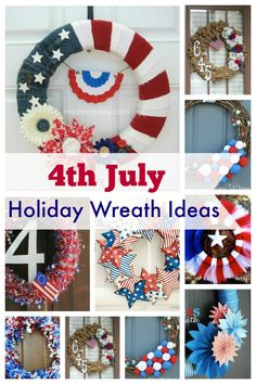 Try your hand at some DIY of July decoration with this selection of awesome holiday wreath ideas. These wreaths are easy crafts that will spruce up your home decor for the holiday season. Try out the tutorials to create something stunning that all yo Patriotic Crafts, Patriotic Party, July Crafts, 4th Of July Celebration, Fourth Of July, 4th Of July Wreath, 4th Of July Decorations, Diy Party Decorations, Holiday Wreaths
