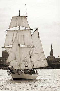 Brigantine Tallship Fritha Sailing Charleston Harbor