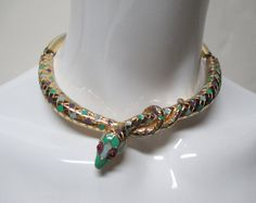f8eeb59c549 Items similar to Vintage 70s YSL Yves Saint Laurent Enamel & Gilt Serpent  Choker Necklace Very Rare on Etsy