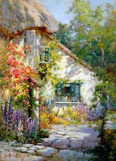 Painting Alfred de Breanski Jr A cottage in Devon England Depiction of my Grandmas dream homebirdhouses everywhere rose arbors and clothes blowing on the line Watercolor Landscape, Landscape Art, Landscape Paintings, Watercolor Paintings, Watercolors, Cottage Art, Cottage Gardens, Cozy Cottage, Garden Painting