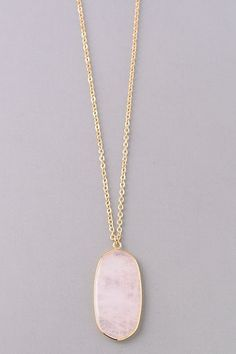 Long Necklace with Rock Pendant. Gold Hardware with Pink Stone, White Marble Stone. Simple Jewelry, Jewelry Box, Jewelery, Fine Jewelry, Long Pendant Necklace, Necklace Box, Necklaces, Earrings, Healing Crystal Jewelry
