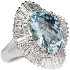 Large Aquamarine Diamond Gold Ballerina Cocktail Ring | From a unique collection of vintage cocktail rings at https://www.1stdibs.com/jewelry/rings/cocktail-rings/