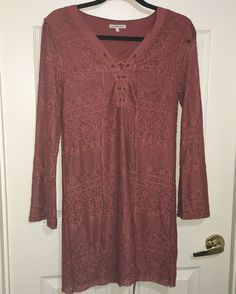 CHARLOTTE RUSSE DRESS WOMENS S BURNT ORANGE FLORAL LACE PATTERN LACE UP AT CHEST #CharlotteRusse #BohoTunic Floral Lace, Lace Up, Ebay Dresses, Charlotte Russe Dresses, Burnt Orange, Pretty Dresses, Burns, Tunic Tops, V Neck