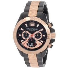 Stuhrling Original Men's 235.339241 Water-sports 'Westport' Chronograph GMT 16k Rose Gold-Plated Black PVD Men's Watch