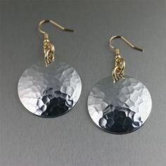 Hammered Aluminum Disc Earrings