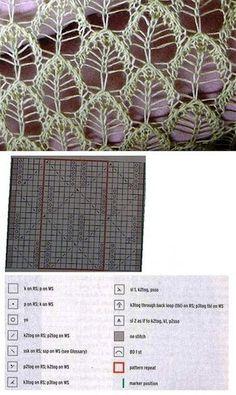 lace knitting Knitting patterns lace leaves ideas for 2019 Lace Knitting Stitches, Lace Knitting Patterns, Knitting Charts, Lace Patterns, Knitting Socks, Stitch Patterns, Knitting Ideas, Knitting Machine, Free Knitting
