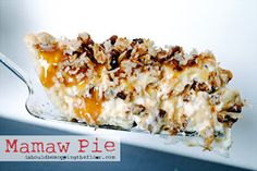 Mamaw Pie: The only part of this pie that has to be baked is the crust! The rest is just layers of fabulous, including cream cheese, caramel, pecans, coconut and more! It's a show stopper that tastes amazing! Recipe makes two pies: freeze one for later! Just Desserts, Delicious Desserts, Yummy Food, Coconut Desserts, Baking Desserts, Summer Desserts, Holiday Desserts, Mamaw Pie Recipe, Recipe Box