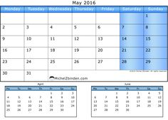 May 2016 Calendar - Blue (April and June)
