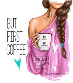 "Anastasia Kosyanova ""But first coffee💕☕️ collection"" Disney Collection, Fall Collection, But First Coffee, I Love Coffee, Girly Drawings, Modelos Fashion, Art Anime, Illustration Art, Illustrations"