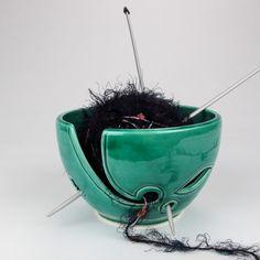 Emerald Green Yarn bowl, leaves Knitting Bowl, Ceramic odorless & clean Yarn holder, Crochet Portable, BlueRoomPottery by blueroompottery on Etsy https://www.etsy.com/listing/182131136/emerald-green-yarn-bowl-leaves-knitting