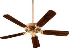 "Quorum International Q77525 Capri I 52"" 5 Blade Hanging Indoor Ceiling Fan with Vintage Gold Leaf Fans Ceiling Fans Indoor Ceiling Fans"