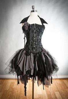 I found 'Custom Size black and gray Burlesque zombie corset dress with collar Available in small to XL.' on Wish, check it out!