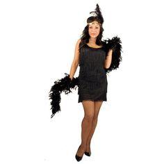 Plus Size Women's Black Fashion Flapper Costume