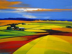 Derric van Rensburg South Africa Like the blocks of color. Abstract Landscape Painting, Watercolor Landscape, Landscape Art, Landscape Paintings, Watercolor Art, Fields In Arts, Acrilic Paintings, South African Art, African Artists