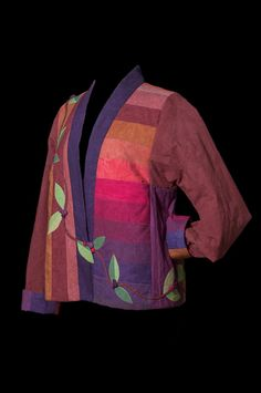 "This beautiful quilted jacket is made with hand-dyed cottons from Cherrywood Fabrics. We assembled their ""Cherry Roll"" strips to make a large piece of fabric from which we cut the fronts and back. Quilted Clothes, Sewing Clothes, Vine Leaves, Pattern Art, Art Patterns, Sewing Art, Patchwork Dress, Patch Quilt, Textiles"