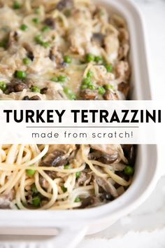 This easy Turkey Tetrazzini Recipe is a creamy, comforting, crowd-pleasing pasta casserole and adelicious way to use up leftover turkey. Made with chunks of leftover turkey and spaghetti noodles in a creamy mushroom and cheese sauce, it's an easy weeknight meal the whole family will love!